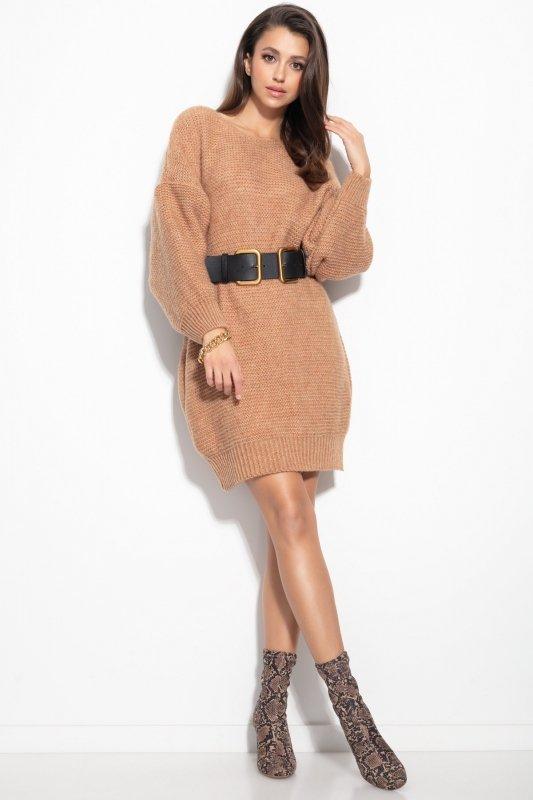 Dzianinowa sukienka-F1105-carmel-3