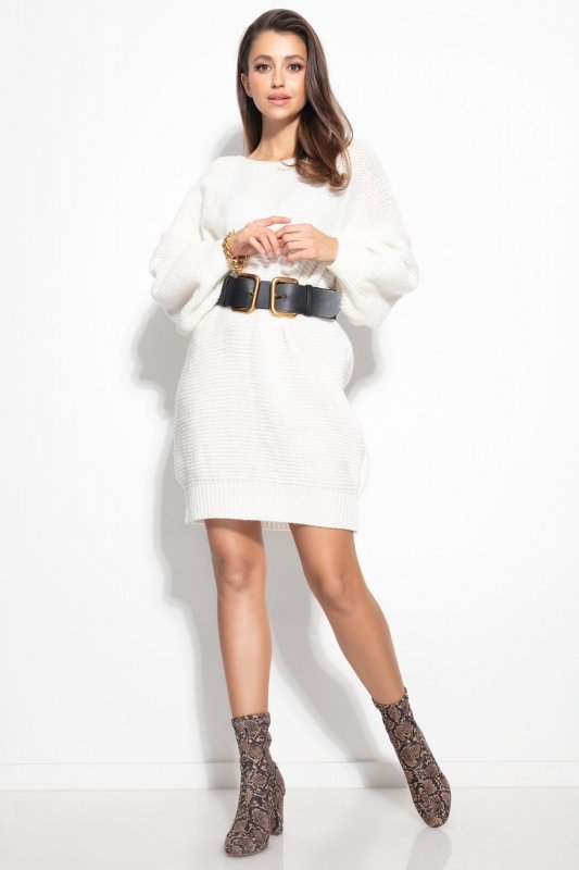 Dzianinowa sukienka-F1105-ecru-3