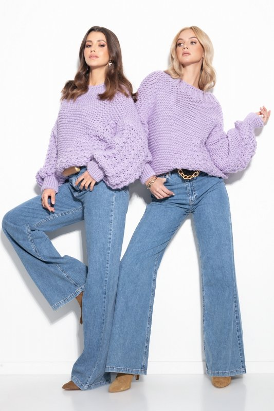Sweter Chunky Knit F1125 - Fiolet -4