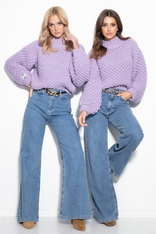 Sweter Chunky Knit F1135 - Fiolet - StreetStyle.net.pl - 2