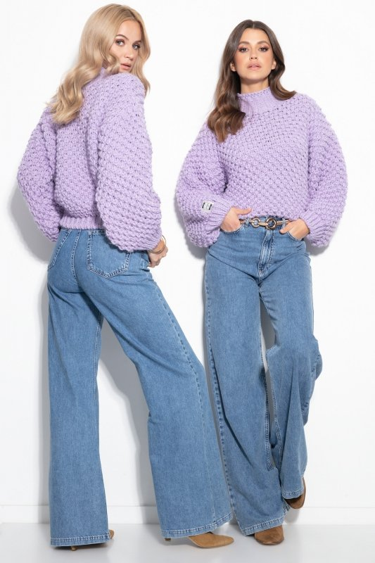 Sweter Chunky Knit F1135 - Fiolet - StreetStyle.net.pl - 4