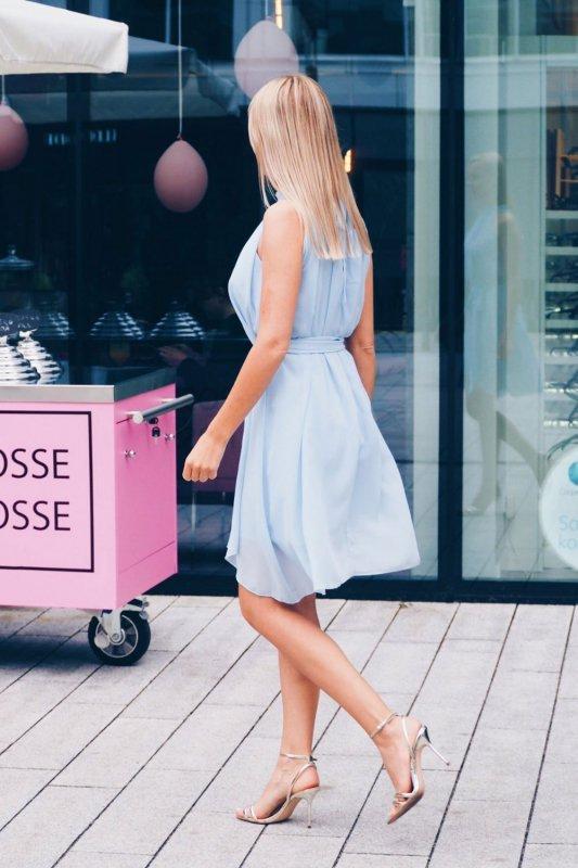 Szyfonowa sukienka Livia - Niebieska - StreetStyle  302