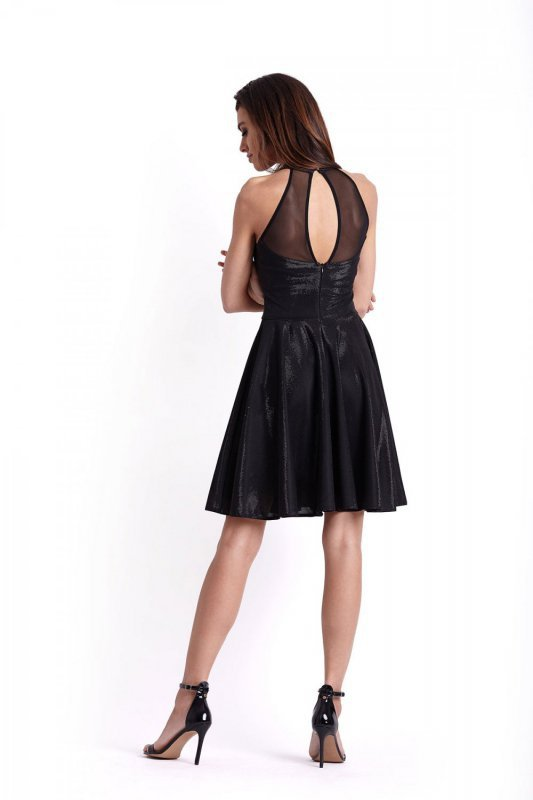 Połyskująca rozkloszowana sukienka Gemma - Czarna - Ivon