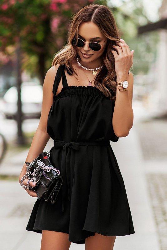 Sukienka ANDI z wiązaniami na ramionach - Czarna_3