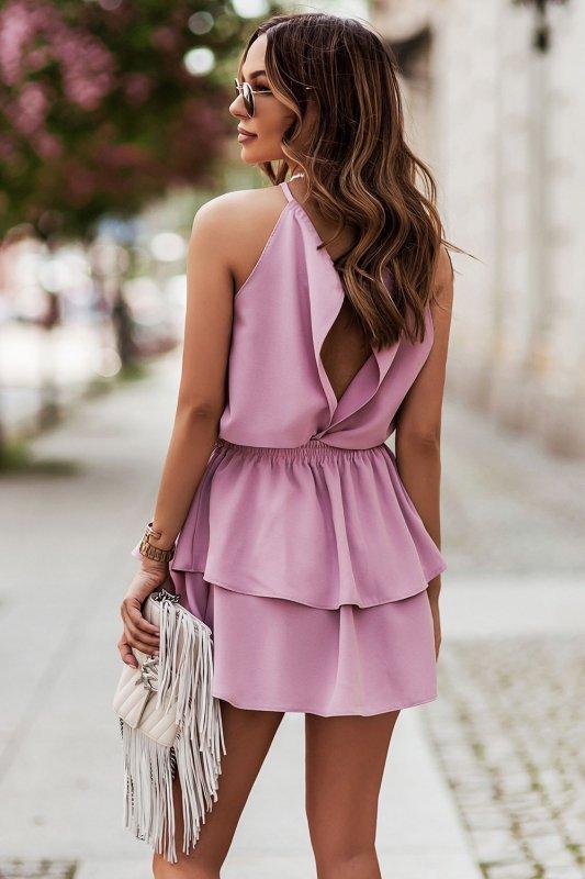 Komplet Costa - bluzka i spódnica z falbanami - różowy_2