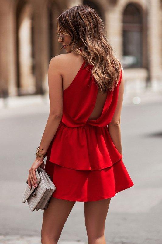 Komplet Costa - bluzka i spódnica z falbanami - czerwony_3