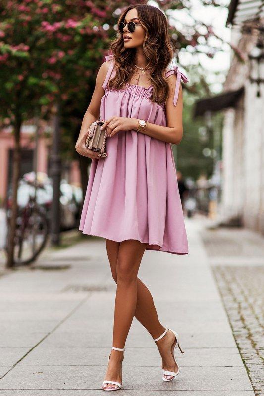 Sukienka ANDI z wiązaniami na ramionach - Róż_1