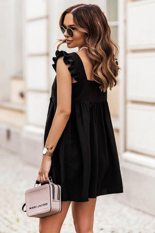 NOEL sukienka mini o lekko oversizowym kroju - Czarna_3