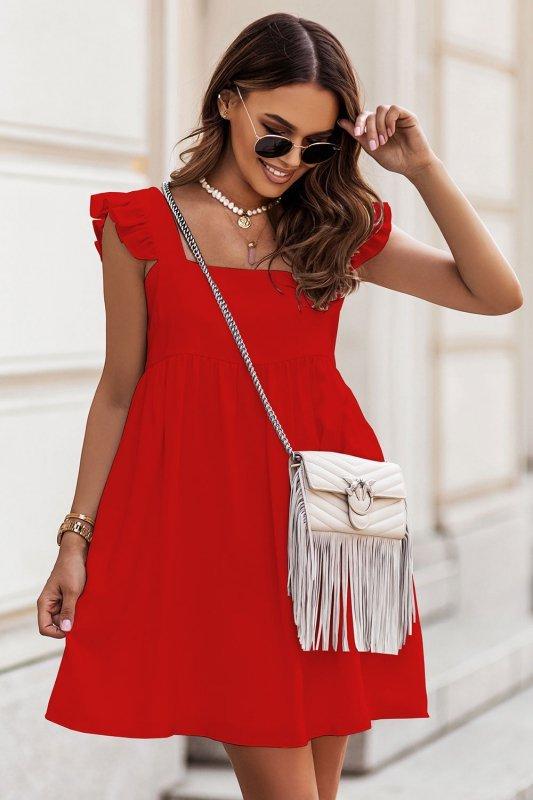 NOEL sukienka mini o lekko oversizowym kroju - Czerwona_1