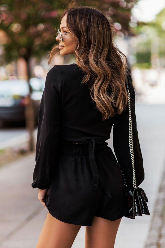 Komplet Rivi - wiązana bluzka z krótkimi spodenkami - czarny_2