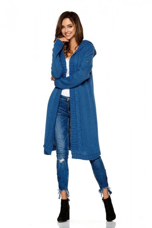 Modny kardigan z kapturem - StreetStyle LS213 - jeans - 3