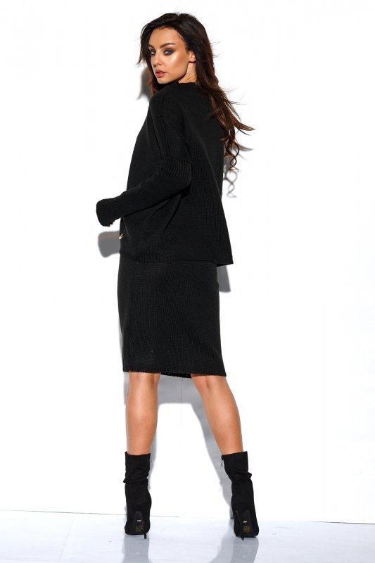 Komplet sweter półgolf i spódnica - StreetStyle LS260 - czarna-2