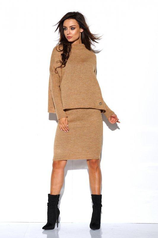 Komplet sweter półgolf i spódnica - StreetStyle LS260 - kamel-4