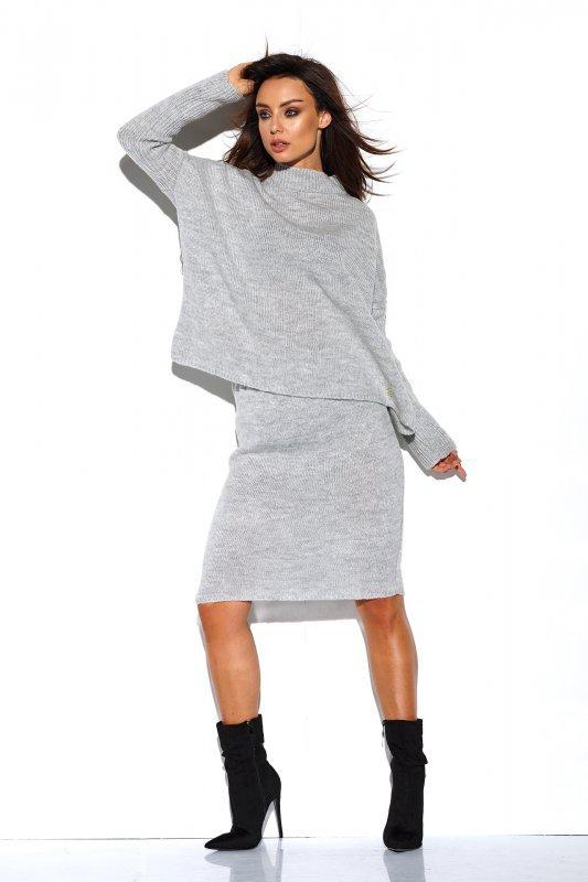 Komplet sweter półgolf i spódnica - StreetStyle LS260 - jasnoszary-2