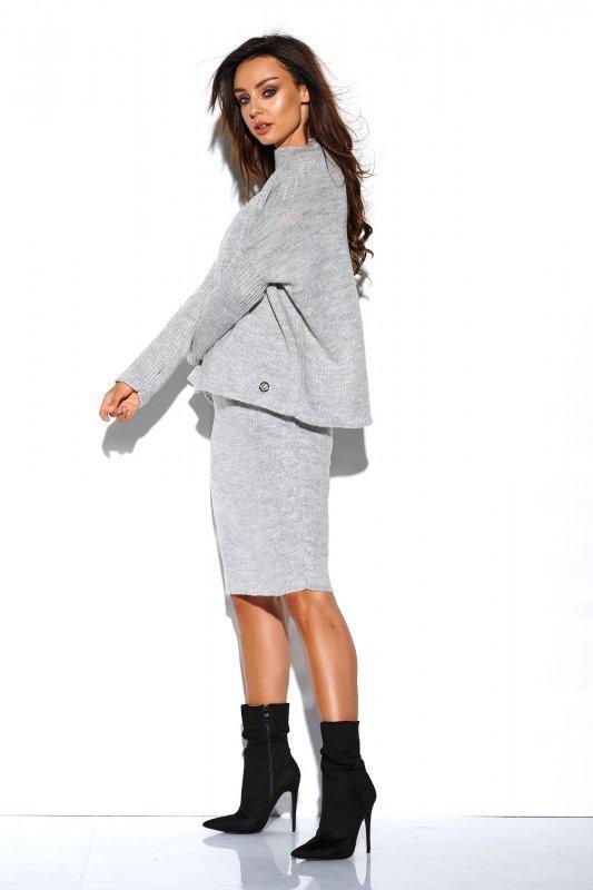Komplet sweter półgolf i spódnica - StreetStyle LS260 - jasnoszary-3