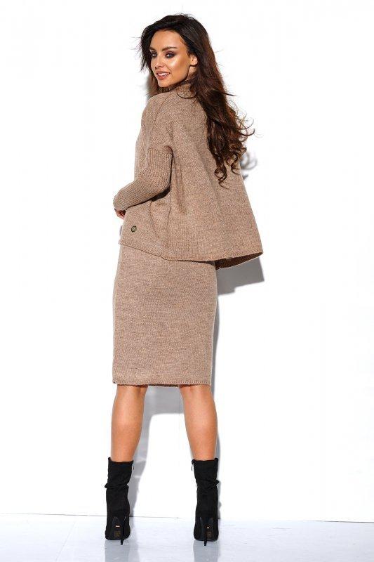 Komplet sweter półgolf i spódnica - StreetStyle LS260 - capucino-1