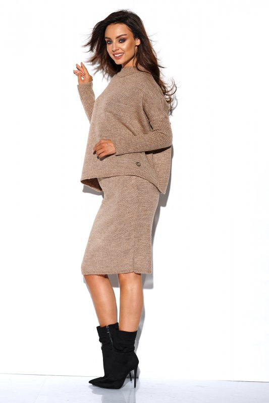 Komplet sweter półgolf i spódnica - StreetStyle LS260 - capucino-4