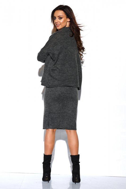Komplet sweter półgolf i spódnica - StreetStyle LS260 - grafit-2