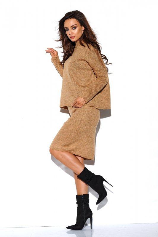 Komplet sweter półgolf i spódnica - StreetStyle LS260 - kamel-1