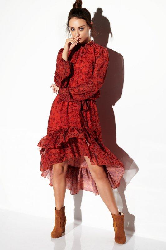 Sukienka z jedwabiem i krótszym przodem -StreetStyle LG504 - druk 1
