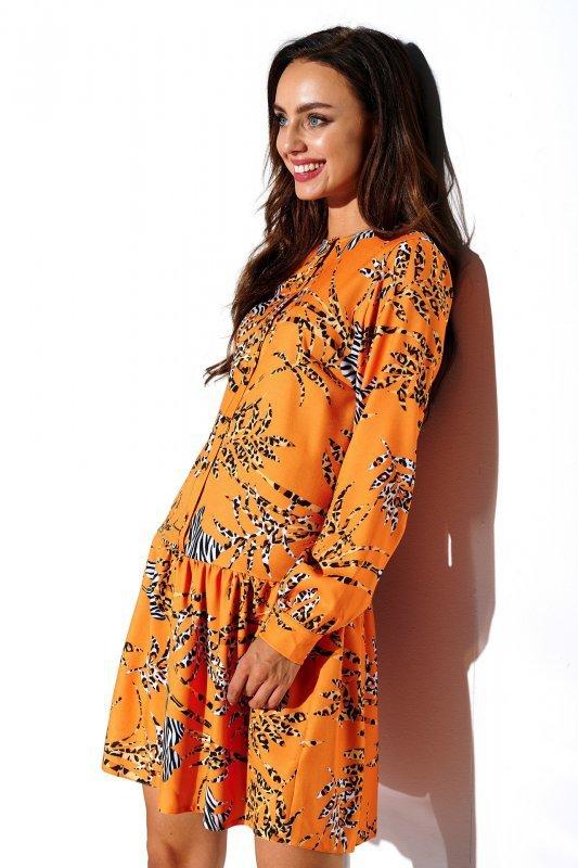 Koszulowa sukienka z falbaną i guziczkami - druk 8