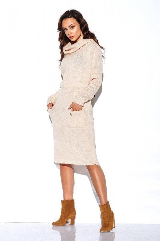 Sweterkowa sukienka z golfem i kieszeniami - StreetStyle LS257- beżowy-2