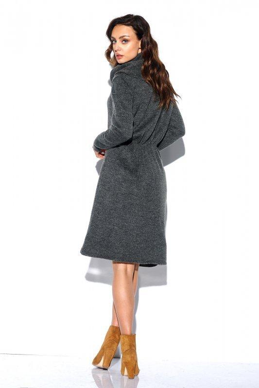 Sweterkowa sukienka z golfem i kieszeniami - StreetStyle LS257- grafit-4