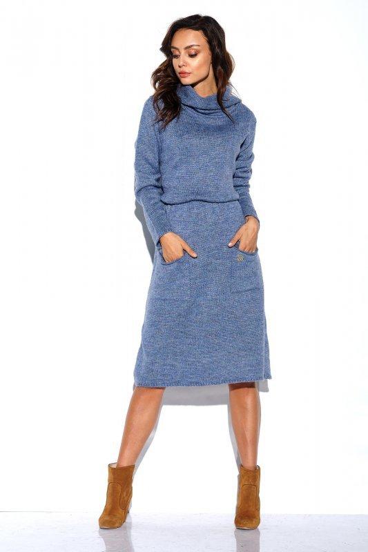 Sweterkowa sukienka z golfem i kieszeniami - StreetStyle LS257- jeans-2