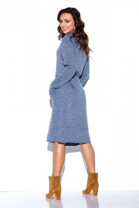 Sweterkowa sukienka z golfem i kieszeniami - StreetStyle LS257- jeans-4