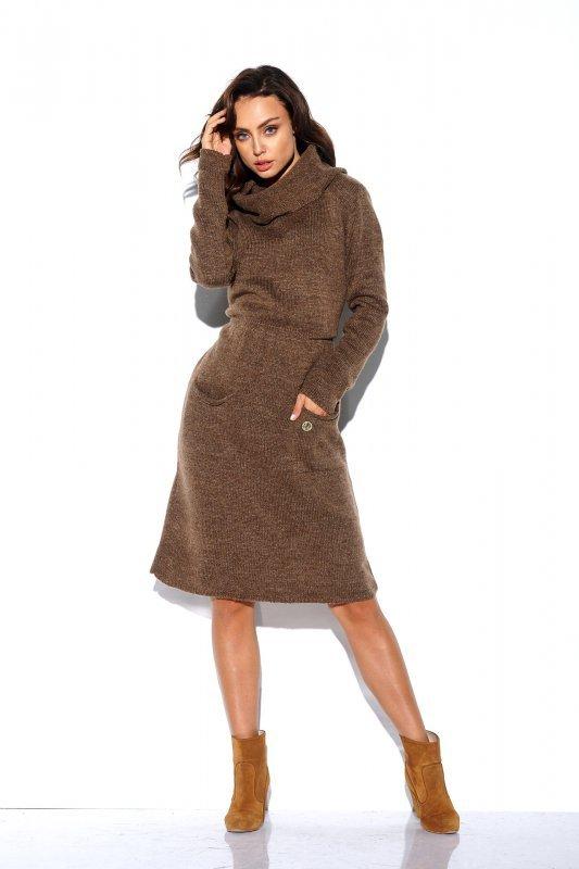 Sweterkowa sukienka z golfem i kieszeniami - StreetStyle LS257- capucino-1