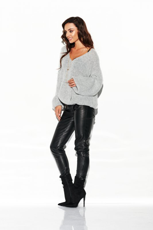 Sweter z dużym dekoltem - StreetStyle LSG111- jasnoszary- 3