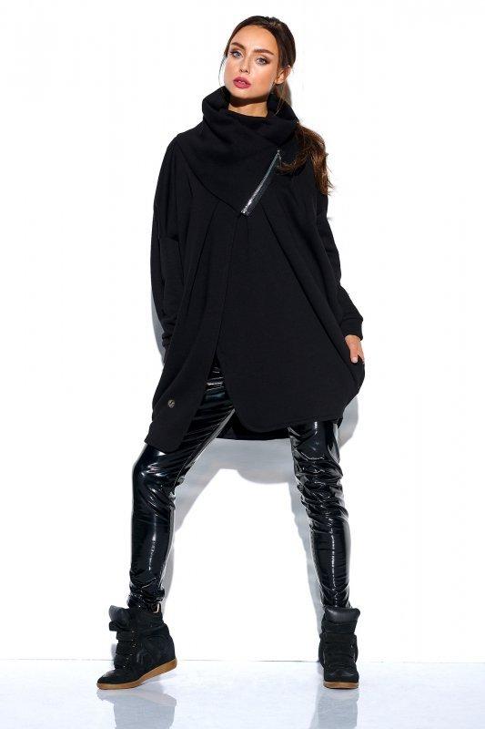 Bluza o oversizowym kroju z zamkiem - StreetStyle LN100 - czarna - 3