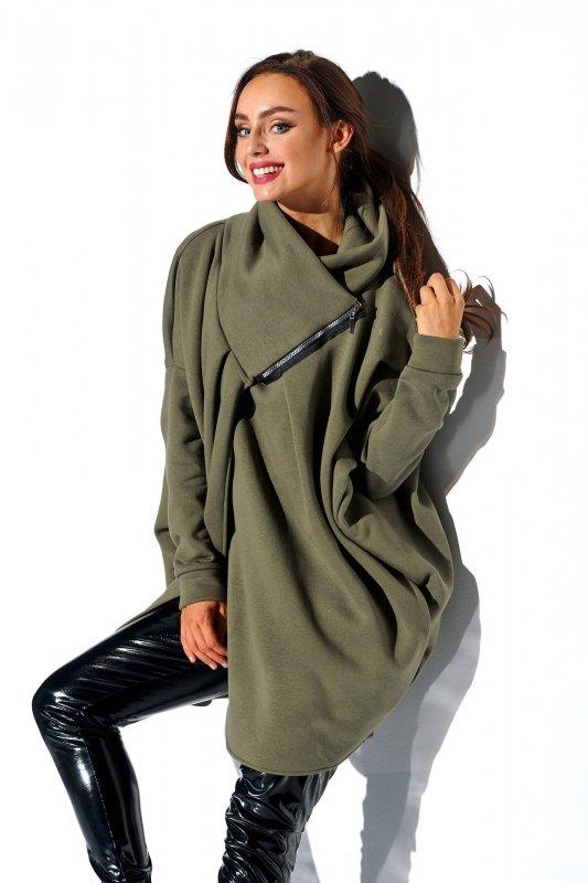 Bluza o oversizowym kroju z zamkiem - StreetStyle LN100 - khaki - 3