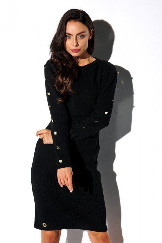 Sukienka swetrowa z guzikami na rękawach - StreetStyle LS270- czarna - 1
