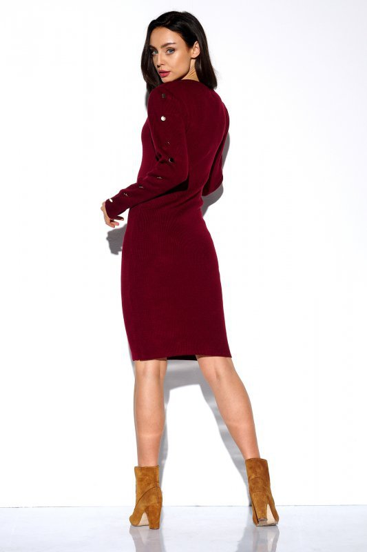 Sukienka swetrowa z guzikami na rękawach - StreetStyle LS270- bordo - 2