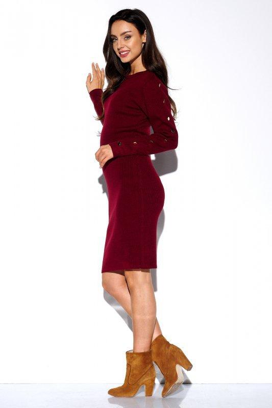 Sukienka swetrowa z guzikami na rękawach - StreetStyle LS270- bordo - 3