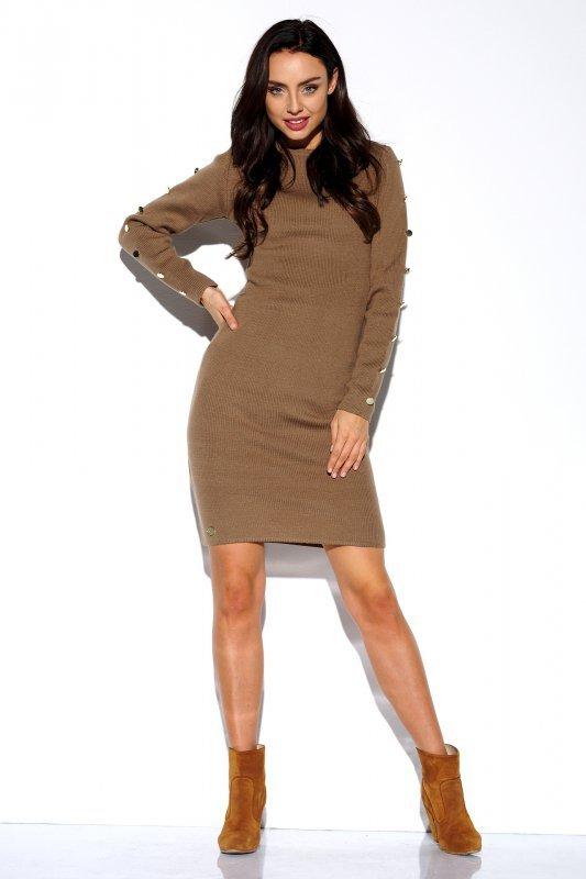 Sukienka swetrowa z guzikami na rękawach - StreetStyle LS270- capucino - 2