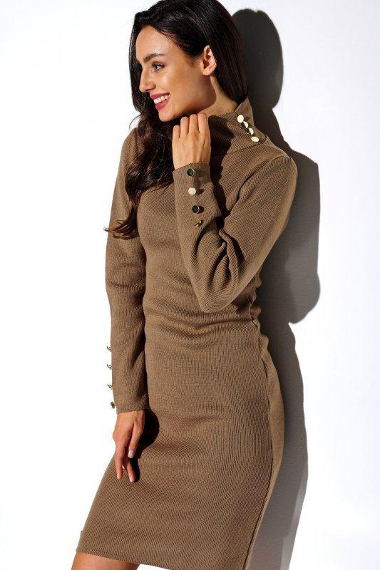 Sukienka swetrowa z guziczkami i golfem - LS271