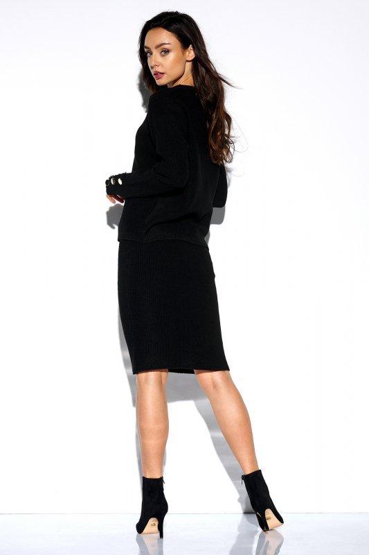 Elegancki komplet sweter i spódnica - StreetStyle LSG118 -czarny - 2