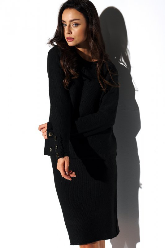 Elegancki komplet sweter i spódnica - StreetStyle LSG118 -czarny - 3