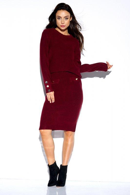 Elegancki komplet sweter i spódnica - StreetStyle LSG118 - bordo - 3