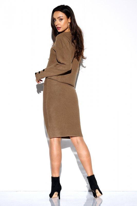 Elegancki komplet sweter i spódnica - StreetStyle LSG118 - capucino  - 2