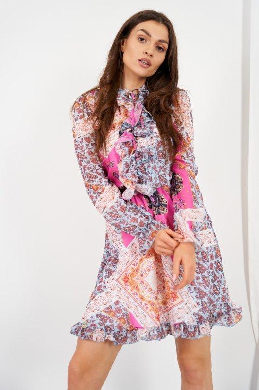 Szyfonowa sukienka z jedwabiem i żabotem wzór - StreetStyle LG518 - druk 17
