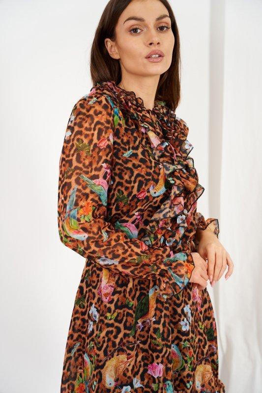 Szyfonowa sukienka z jedwabiem i żabotem wzór - StreetStyle LG518 - druk 13