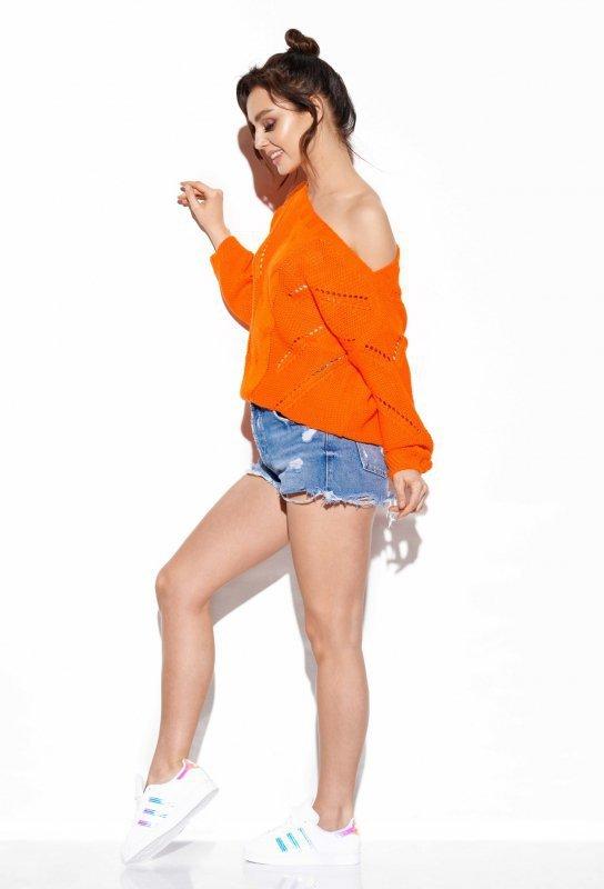 Ażurowy sweter z warkoczem - SteetStyle LS287- pomarańcz-2