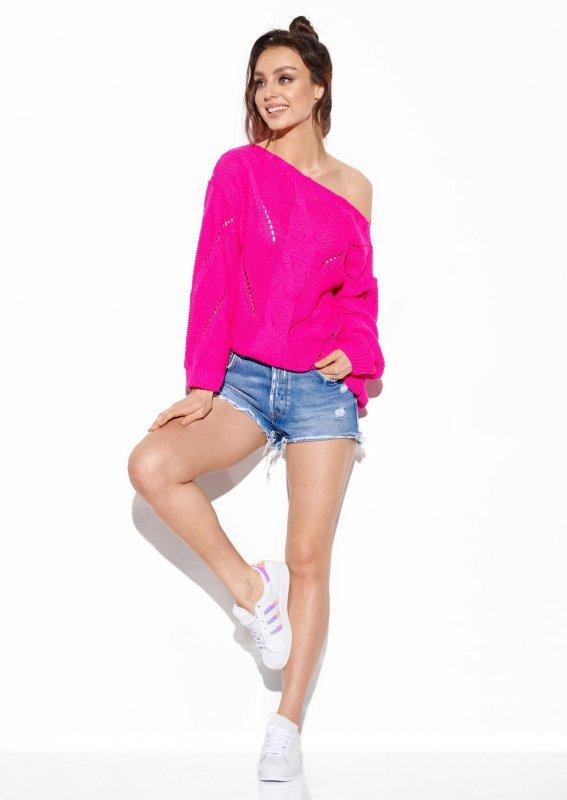 Ażurowy sweter z warkoczem - SteetStyle LS287- ostry róż-1