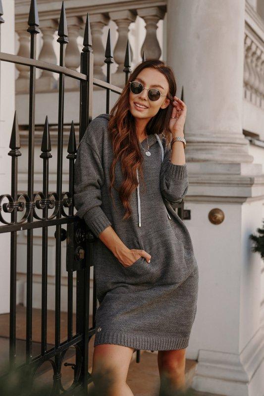 Swetrowa sukienka sportowa z kieszenią -  LSG132 - grafit-3