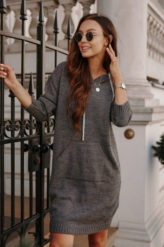 Swetrowa sukienka sportowa z kieszenią -  LSG132 - grafit-6