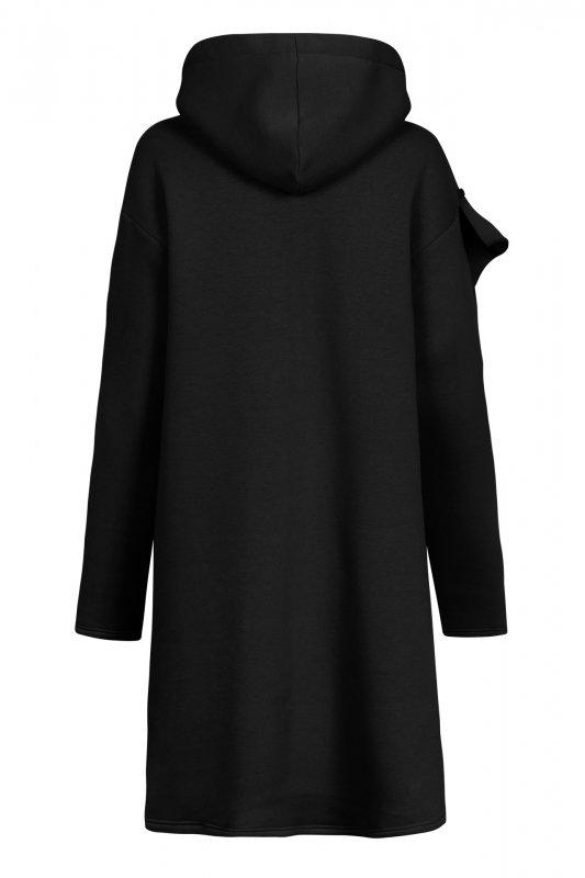 Bawełniana sukienka/bluza z falbaną LN119 - Czarna - 1