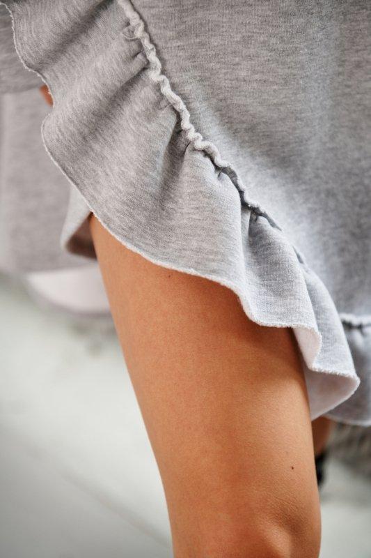 Bawełniana sukienka/bluza z falbaną LN119 - Jasnoszary - 12